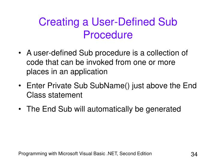 Creating a User-Defined Sub Procedure