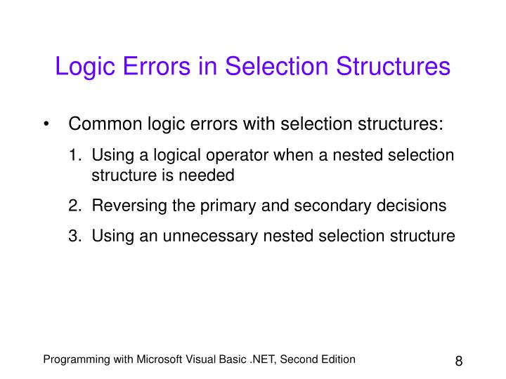 Logic Errors in Selection Structures