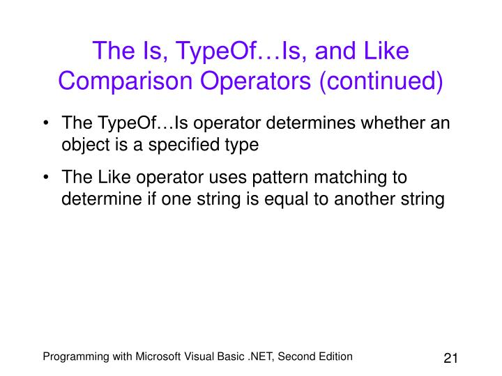 The Is, TypeOf…Is, and Like Comparison Operators (continued)