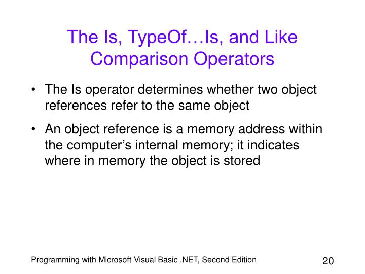 The Is, TypeOf…Is, and Like Comparison Operators