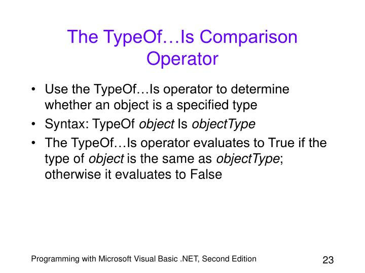 The TypeOf…Is Comparison Operator