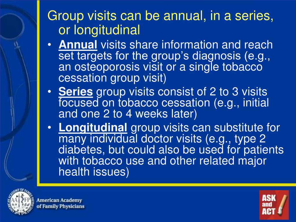 Group visits can be annual, in a series, or longitudinal