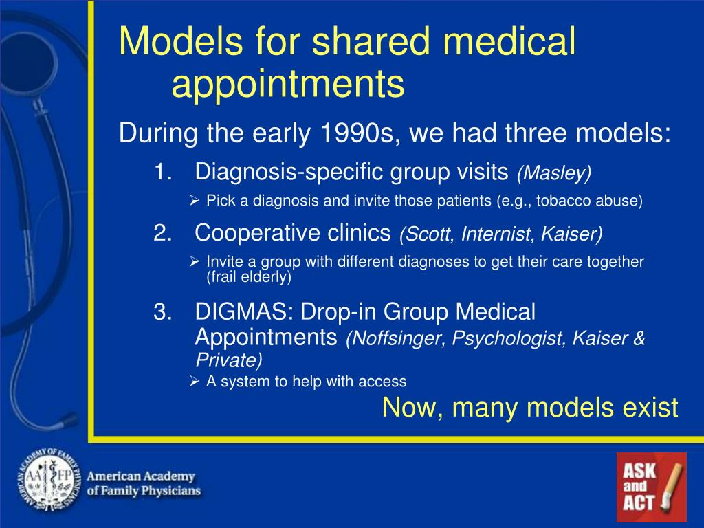 Models for shared medical appointments