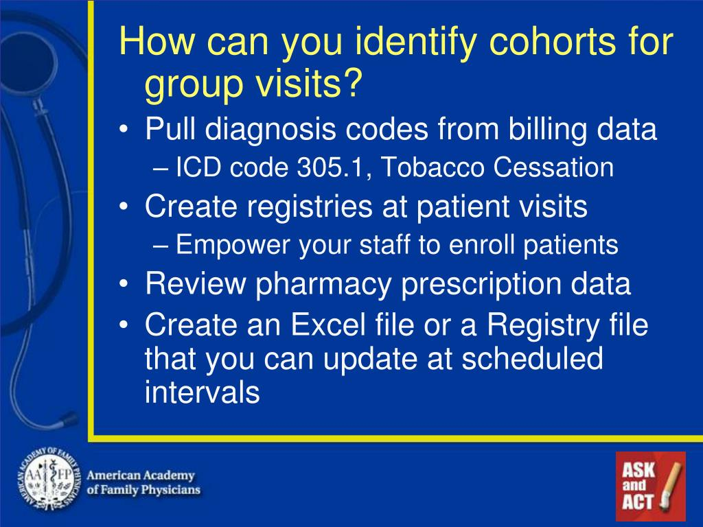 How can you identify cohorts for group visits?