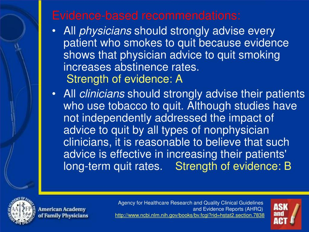 Evidence-based recommendations: