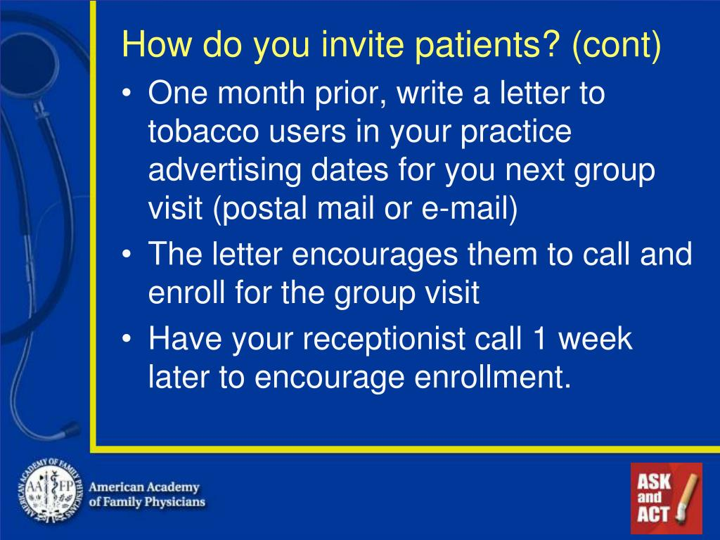 How do you invite patients? (cont)