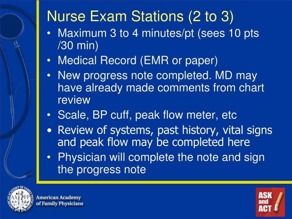 Nurse Exam Stations (2 to 3)