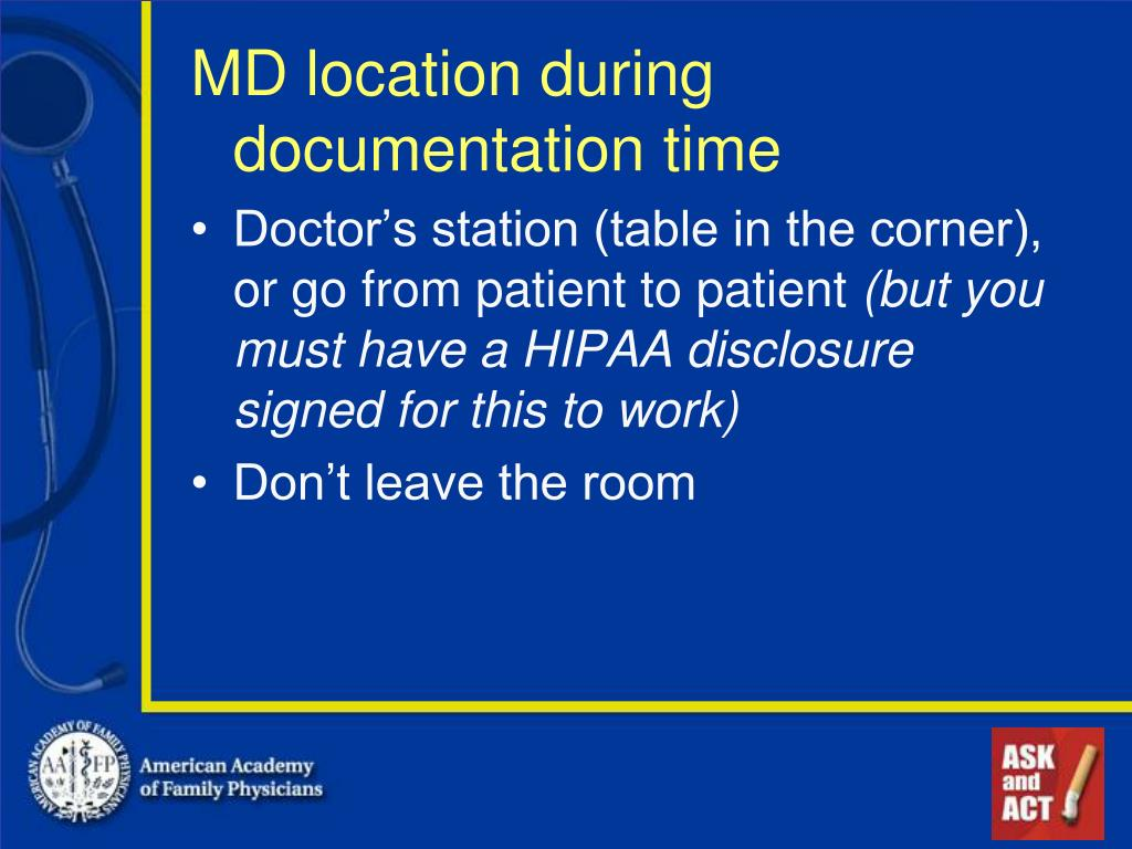 MD location during documentation time