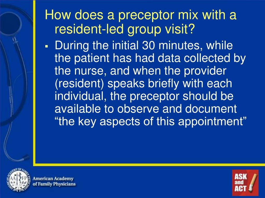 How does a preceptor mix with a resident-led group visit?