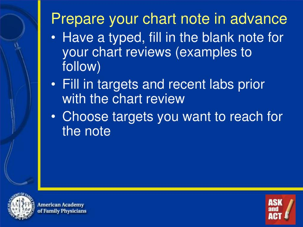 Prepare your chart note in advance