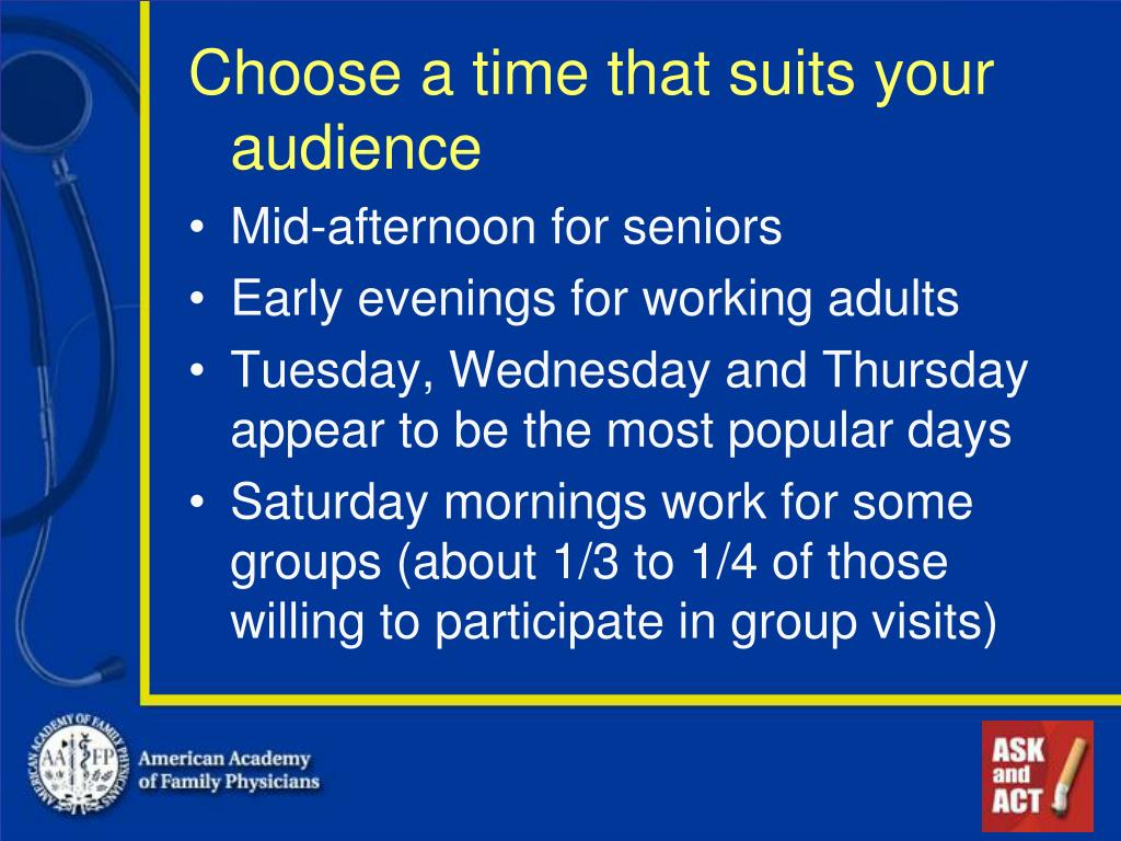 Choose a time that suits your audience