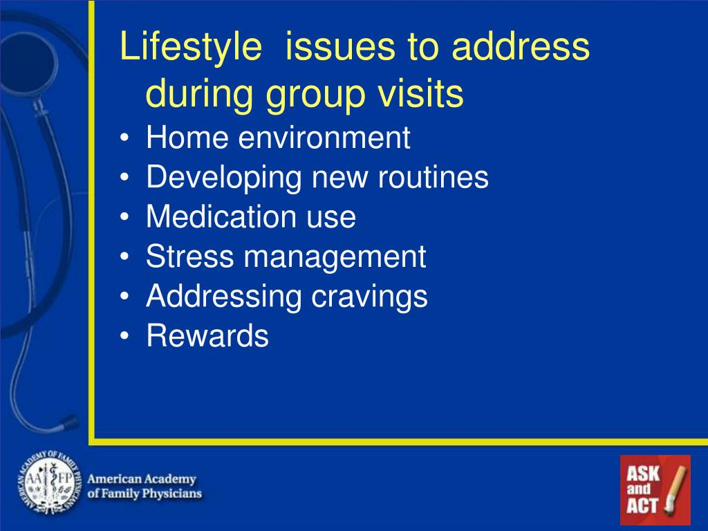 Lifestyle  issues to address during group visits