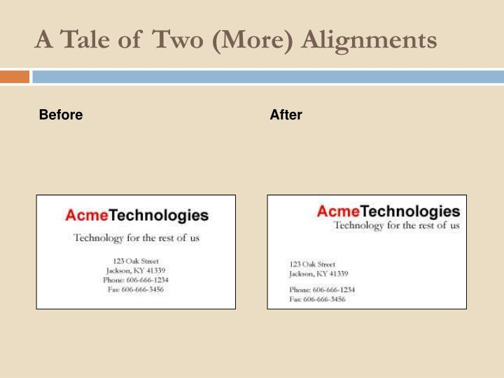 A Tale of Two (More) Alignments