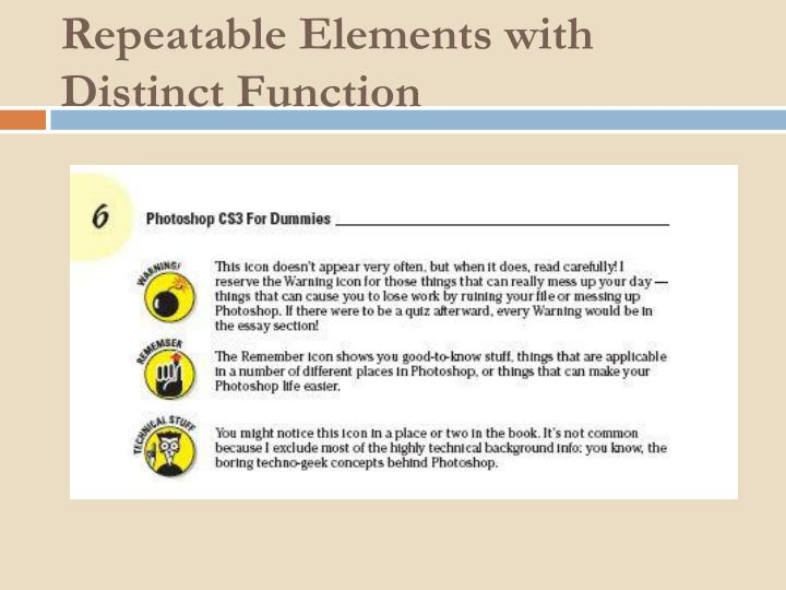 Repeatable Elements with Distinct Function