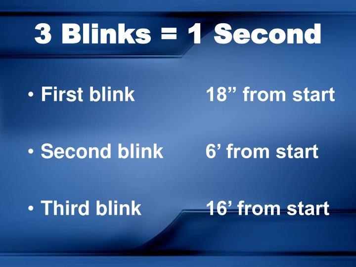 3 Blinks = 1 Second