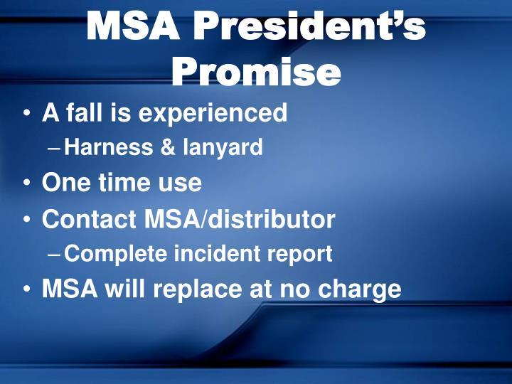 MSA President's Promise