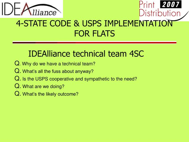 4 state code usps implementation for flats idealliance technical team 4sc