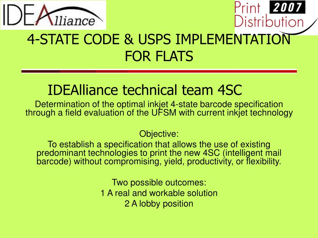 4-STATE CODE & USPS IMPLEMENTATION FOR FLATS