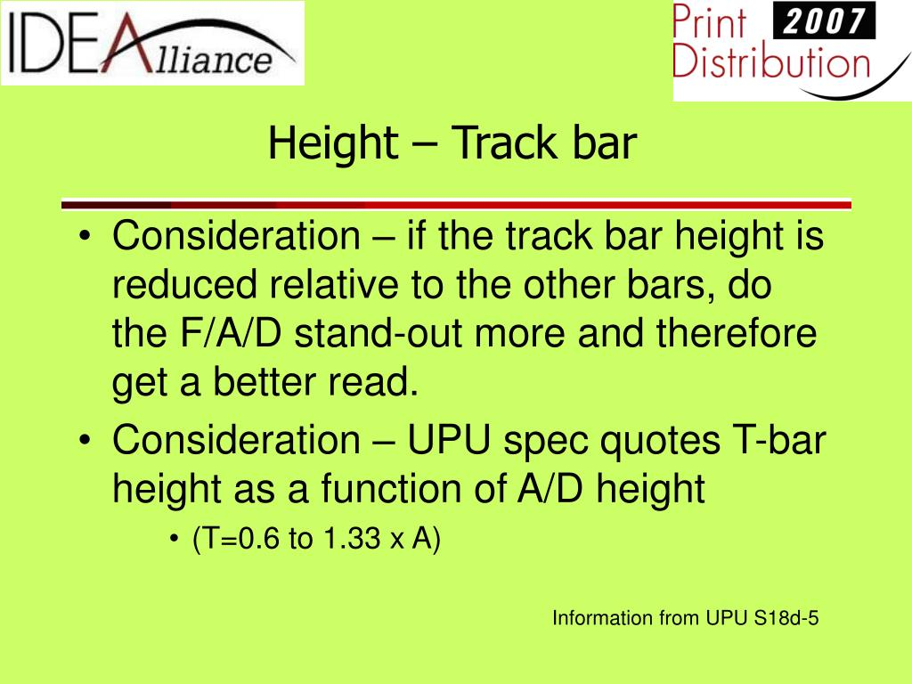 Height – Track bar