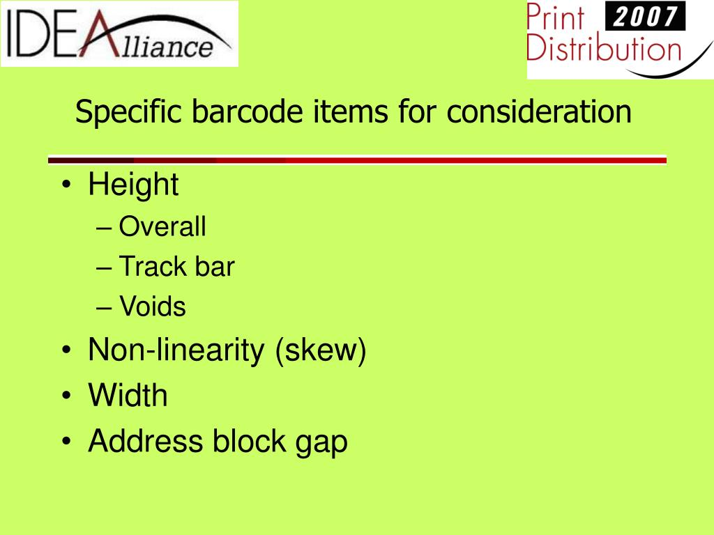 Specific barcode items for consideration