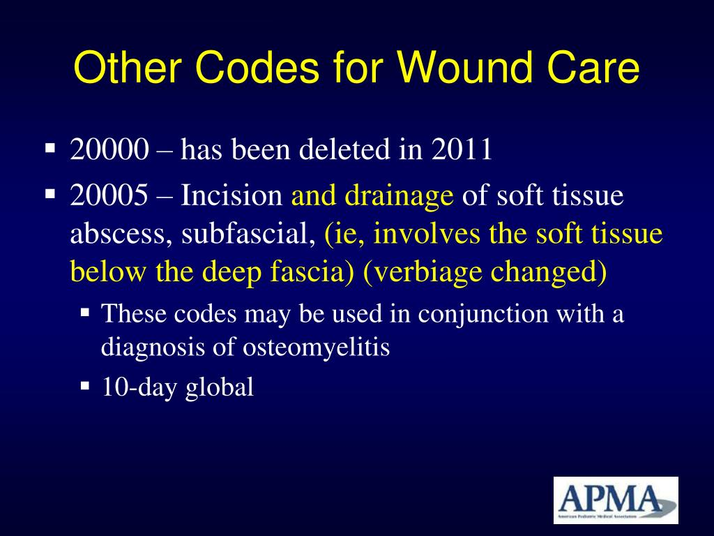 Other Codes for Wound Care