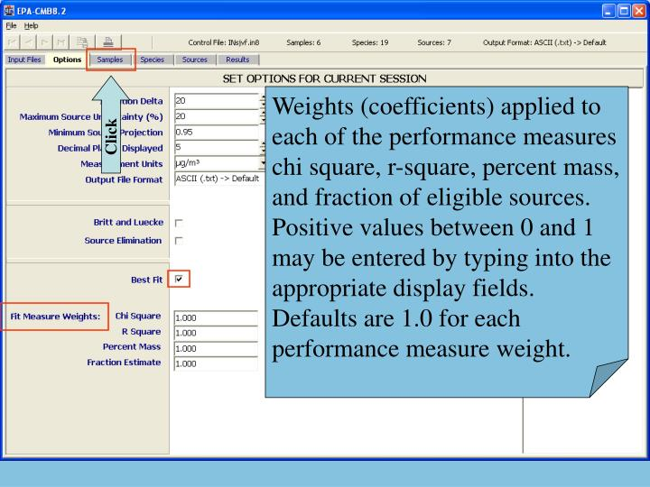 Weights (coefficients) applied to each of the performance measures chi square, r-square, percent mass, and fraction of eligible sources.  Positive values between 0 and 1 may be entered by typing into the appropriate display fields.  Defaults are 1.0 for each performance measure weight.