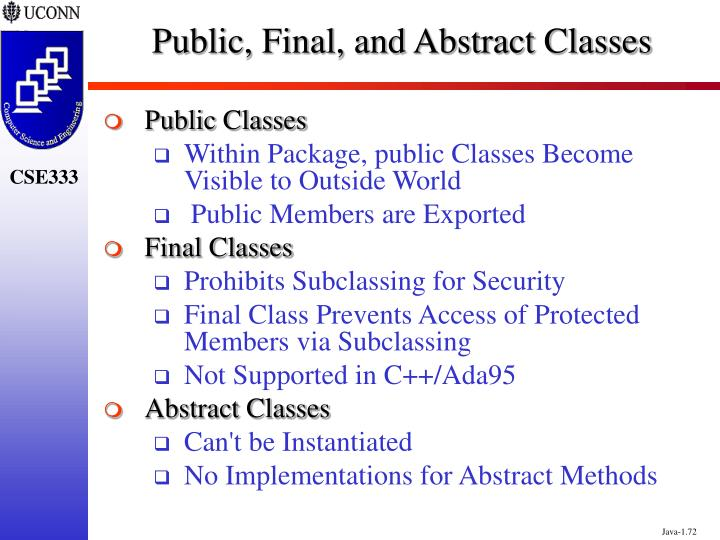 Public, Final, and Abstract Classes