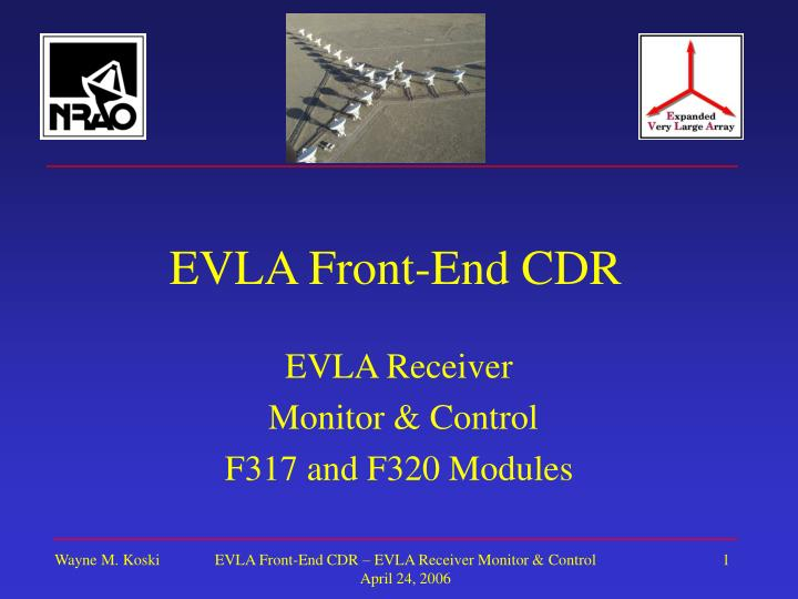 Evla front end cdr
