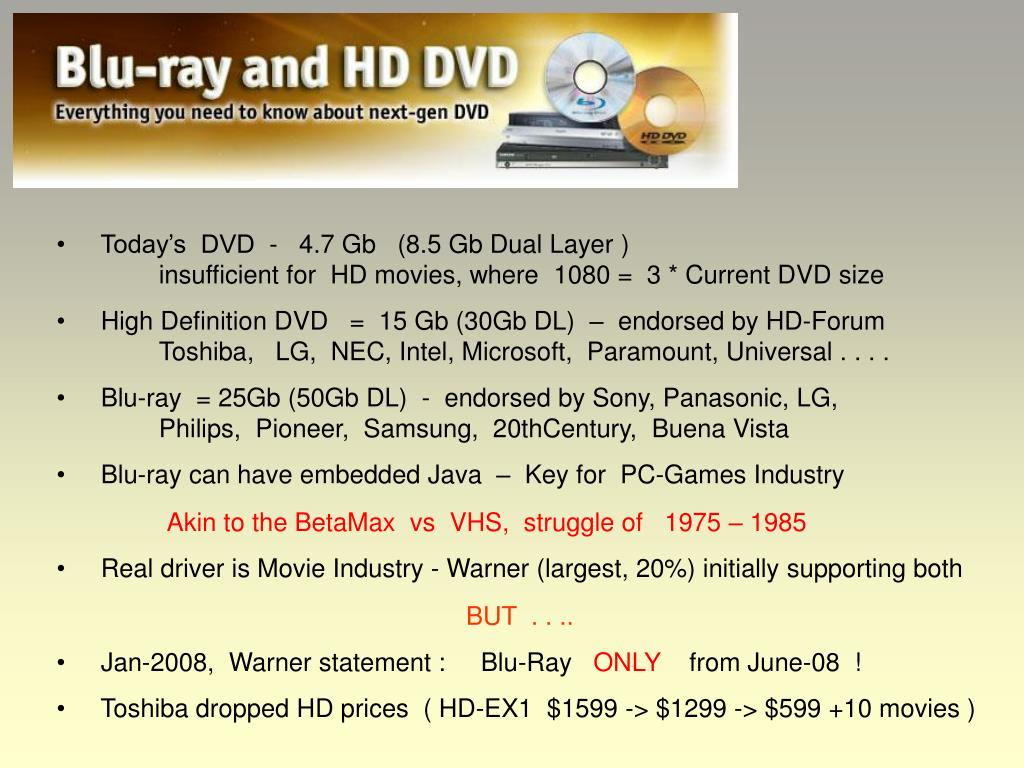 Today's  DVD  -   4.7 Gb   (8.5 Gb Dual Layer )insufficient for  HD movies, where  1080 =  3 * Current DVD size