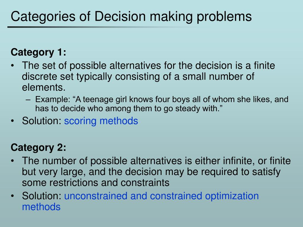 Categories of Decision making problems