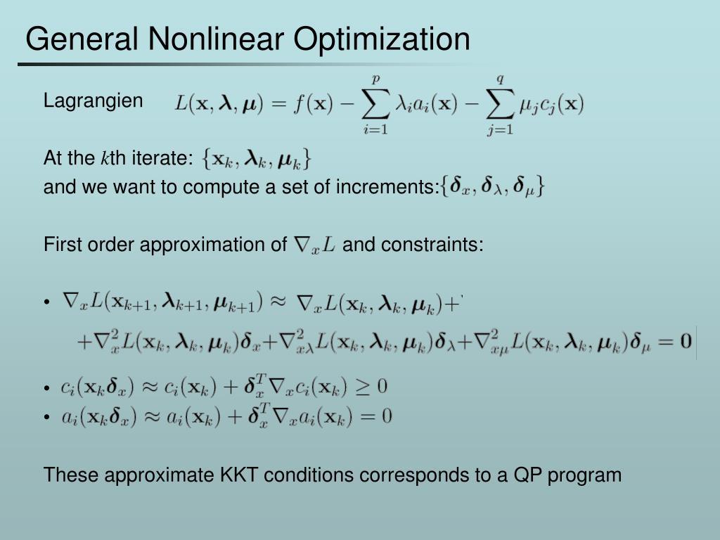 General Nonlinear Optimization
