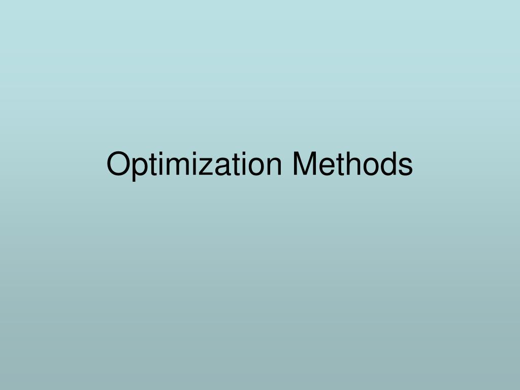 Optimization Methods