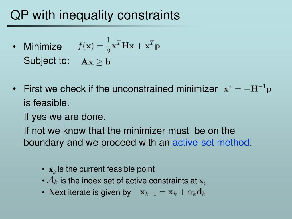 QP with inequality constraints