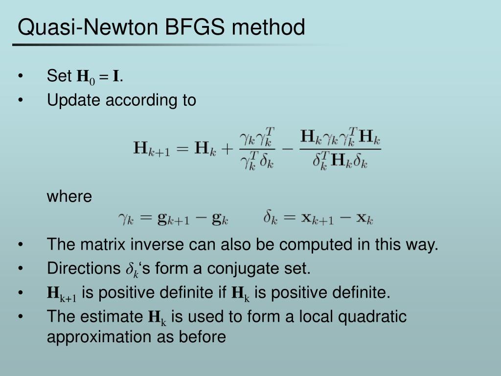 Quasi-Newton BFGS method