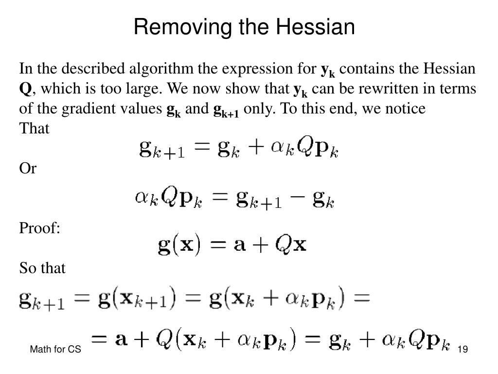 In the described algorithm the expression for