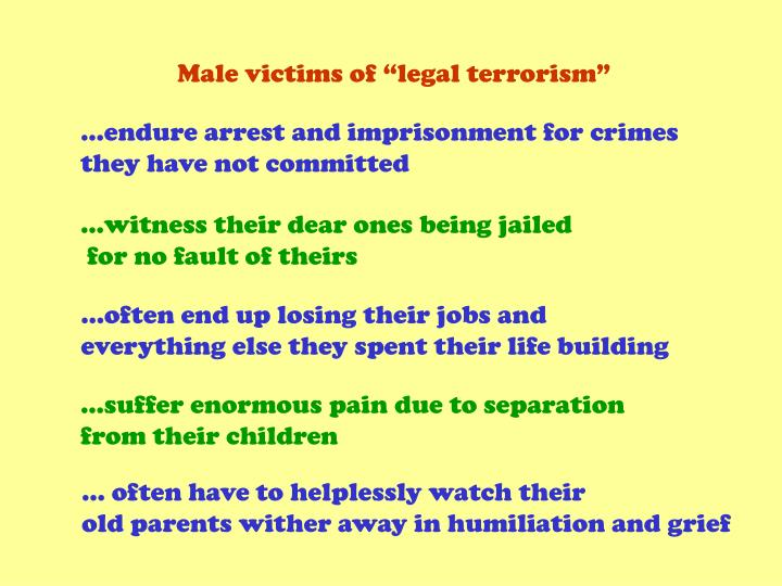 """Male victims of """"legal terrorism"""""""