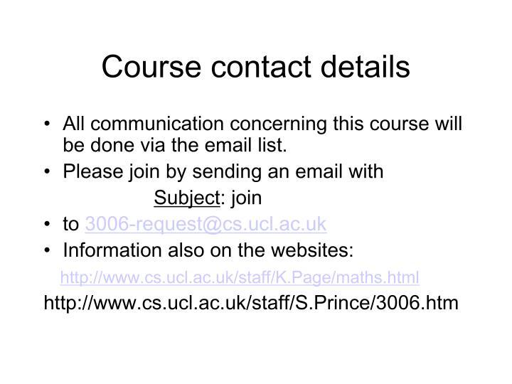 Course contact details