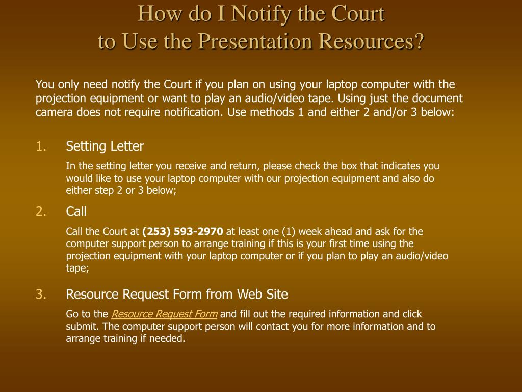 How do I Notify the Court