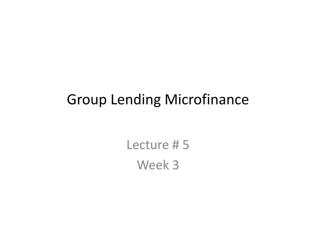 Group Lending Microfinance