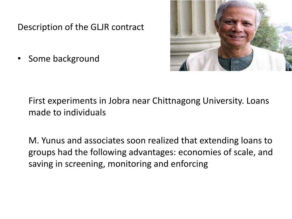 Description of the GLJR contract