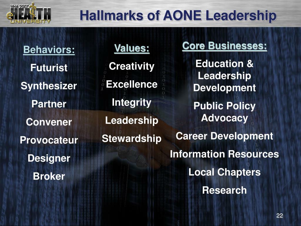 Hallmarks of AONE Leadership
