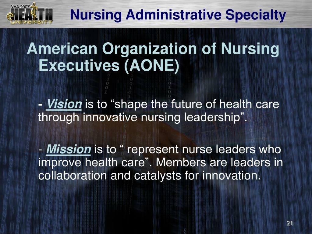 Nursing Administrative Specialty