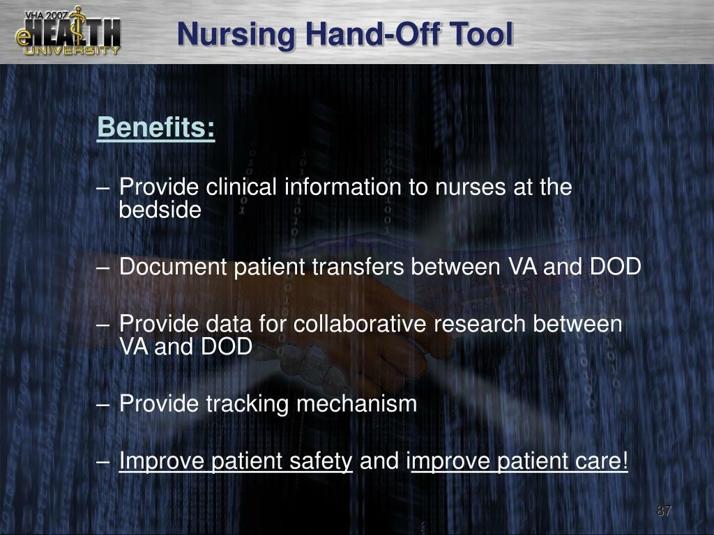 Nursing Hand-Off Tool