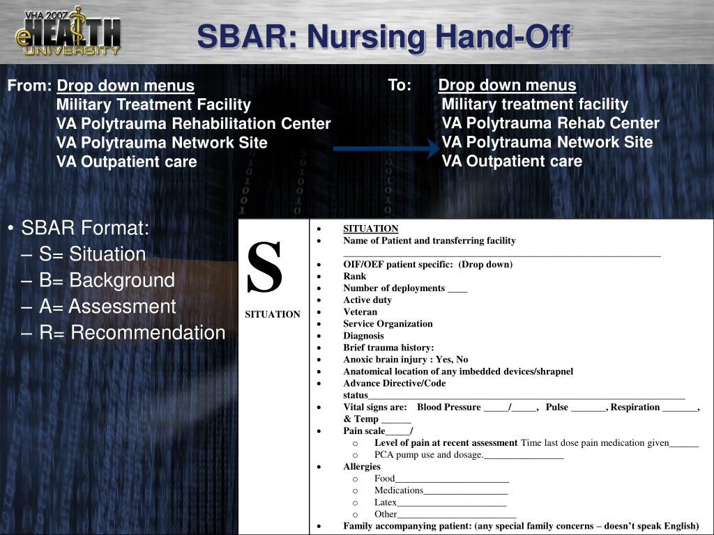 SBAR: Nursing Hand-Off