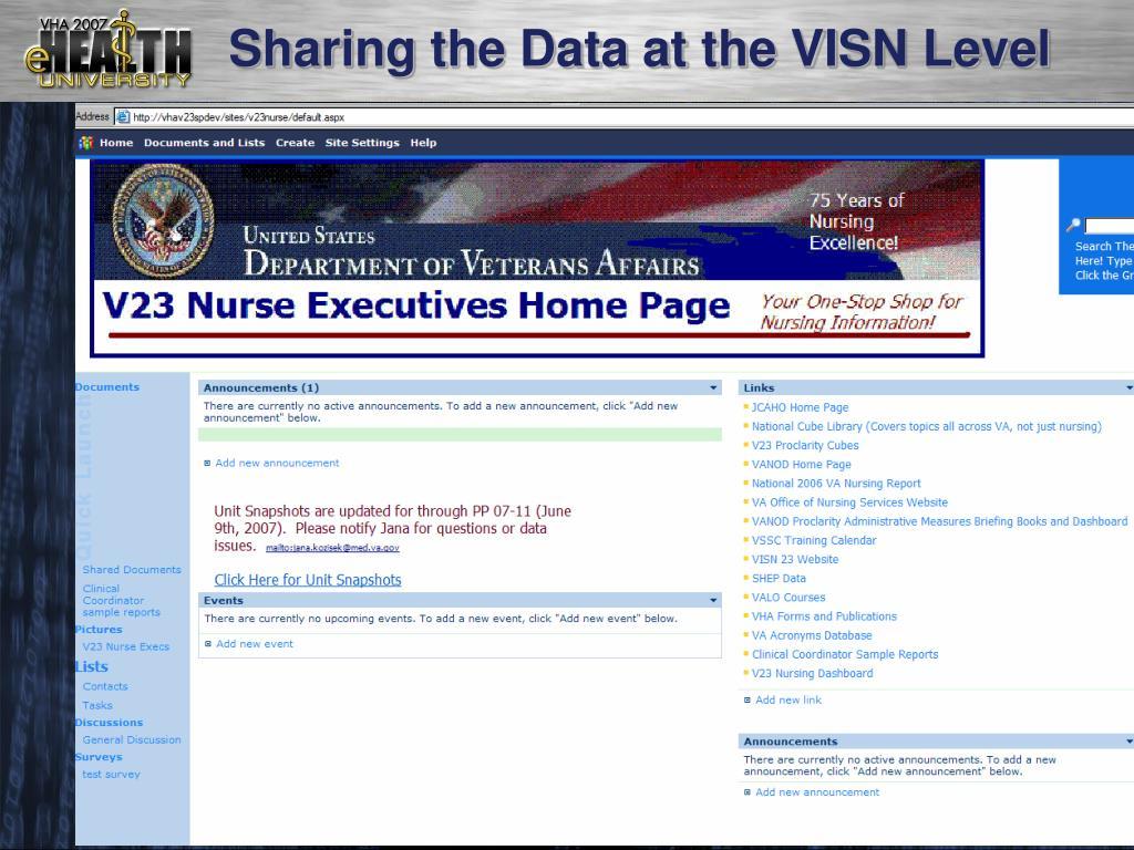 Sharing the Data at the VISN Level