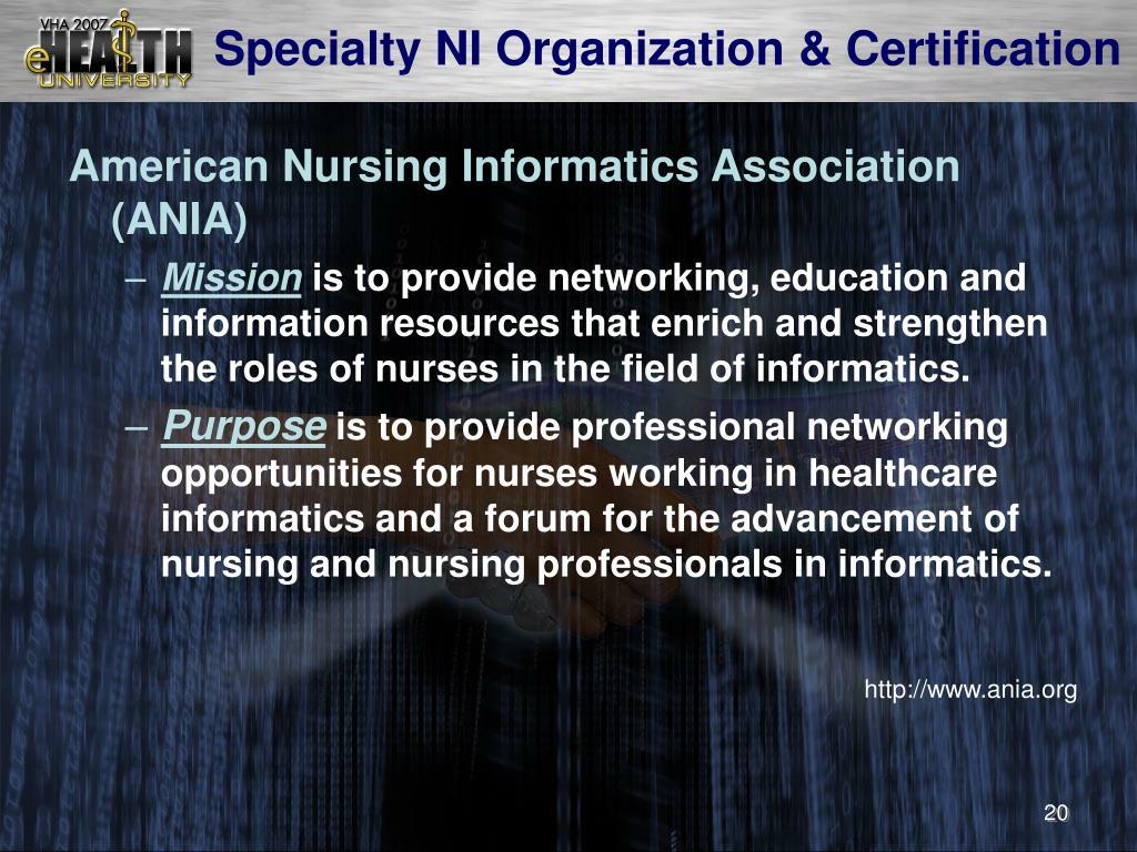 Specialty NI Organization & Certification
