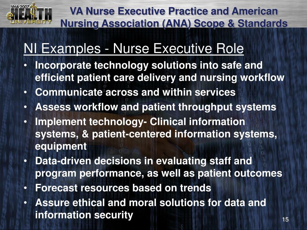 VA Nurse Executive Practice and American Nursing Association (ANA) Scope & Standards