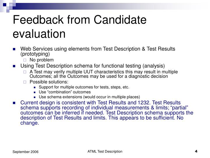 Feedback from Candidate evaluation