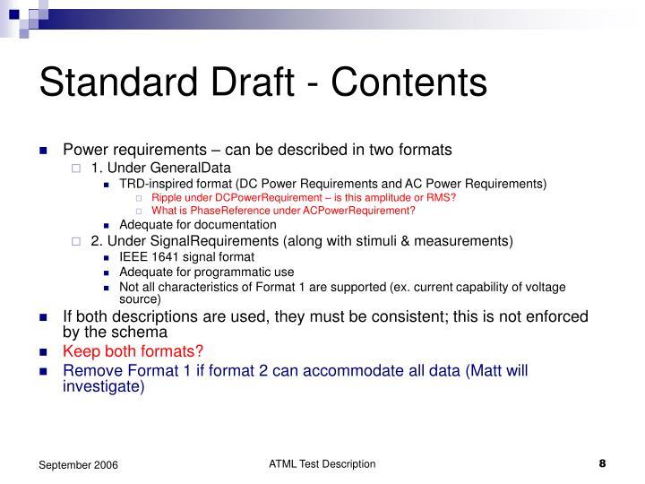 Standard Draft - Contents