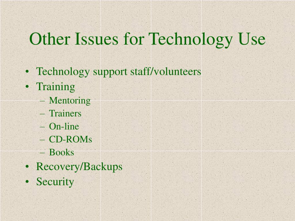 Other Issues for Technology Use